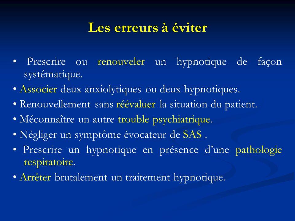 Les erreurs à éviter • Prescrire ou renouveler un hypnotique de façon systématique. • Associer deux anxiolytiques ou deux hypnotiques.