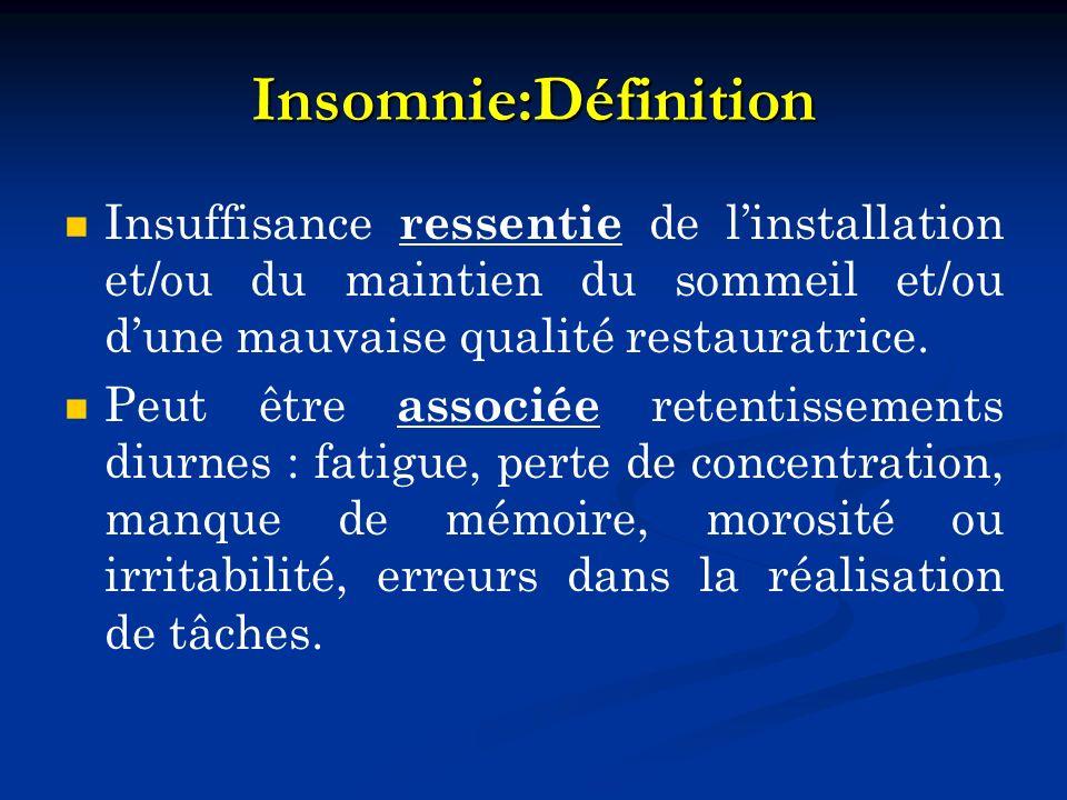 Insomnie:Définition Insuffisance ressentie de l'installation et/ou du maintien du sommeil et/ou d'une mauvaise qualité restauratrice.