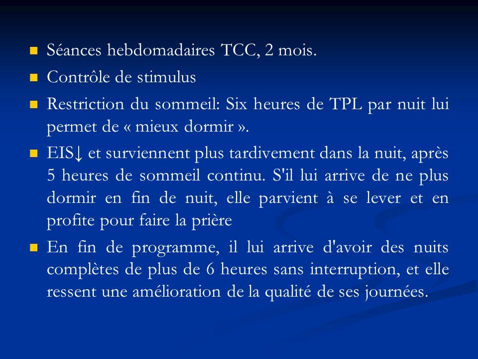 Séances hebdomadaires TCC, 2 mois.