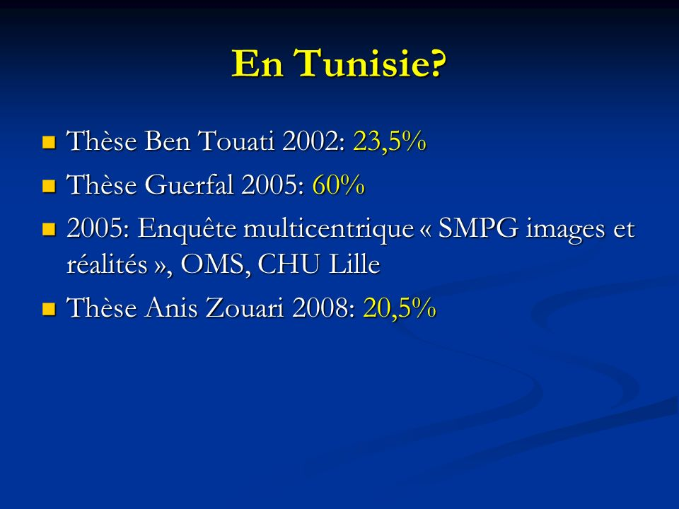 En Tunisie Thèse Ben Touati 2002: 23,5% Thèse Guerfal 2005: 60%