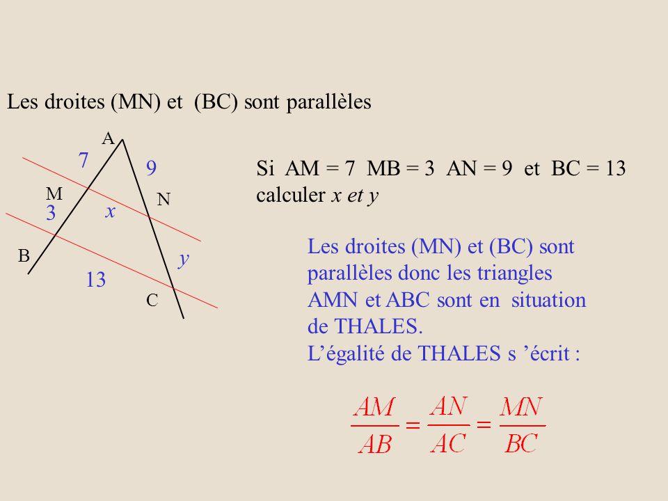 Les droites (MN) et (BC) sont parallèles