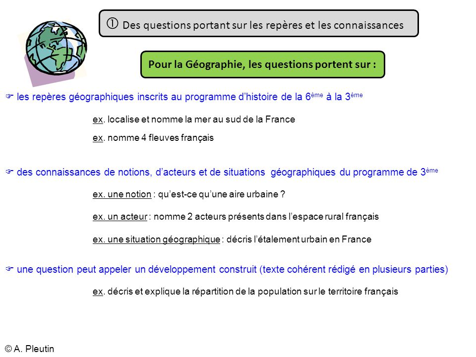 Pour la Géographie, les questions portent sur :