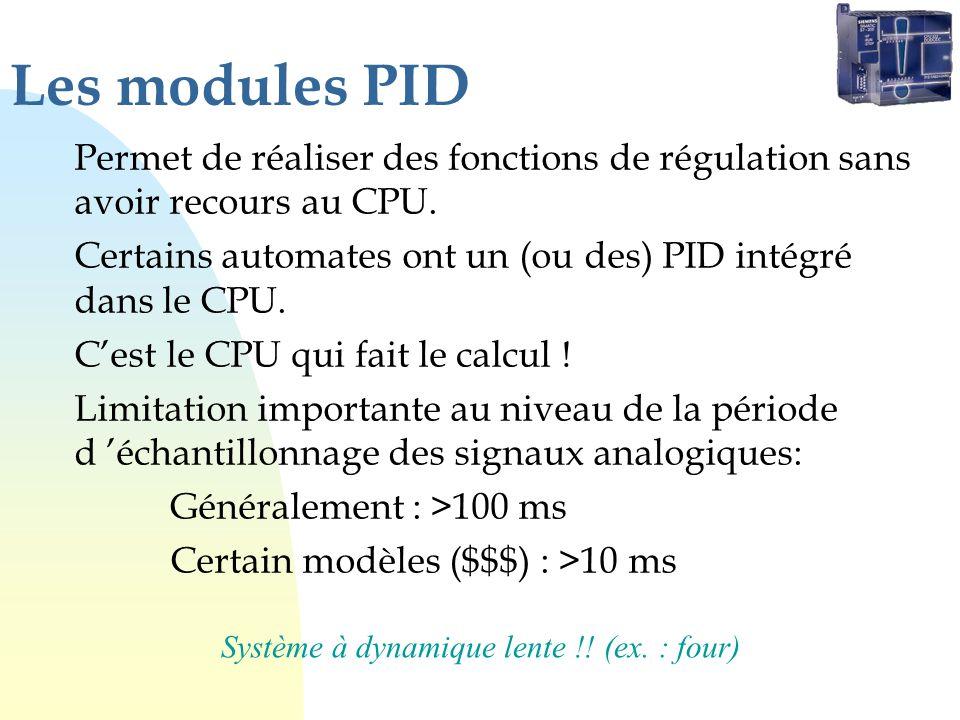 Les modules PID Permet de réaliser des fonctions de régulation sans avoir recours au CPU.
