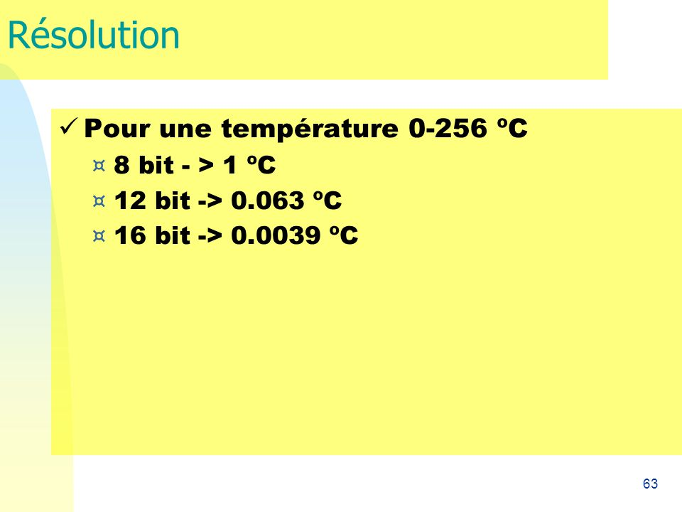 Résolution Pour une température 0-256 ºC 8 bit - > 1 ºC