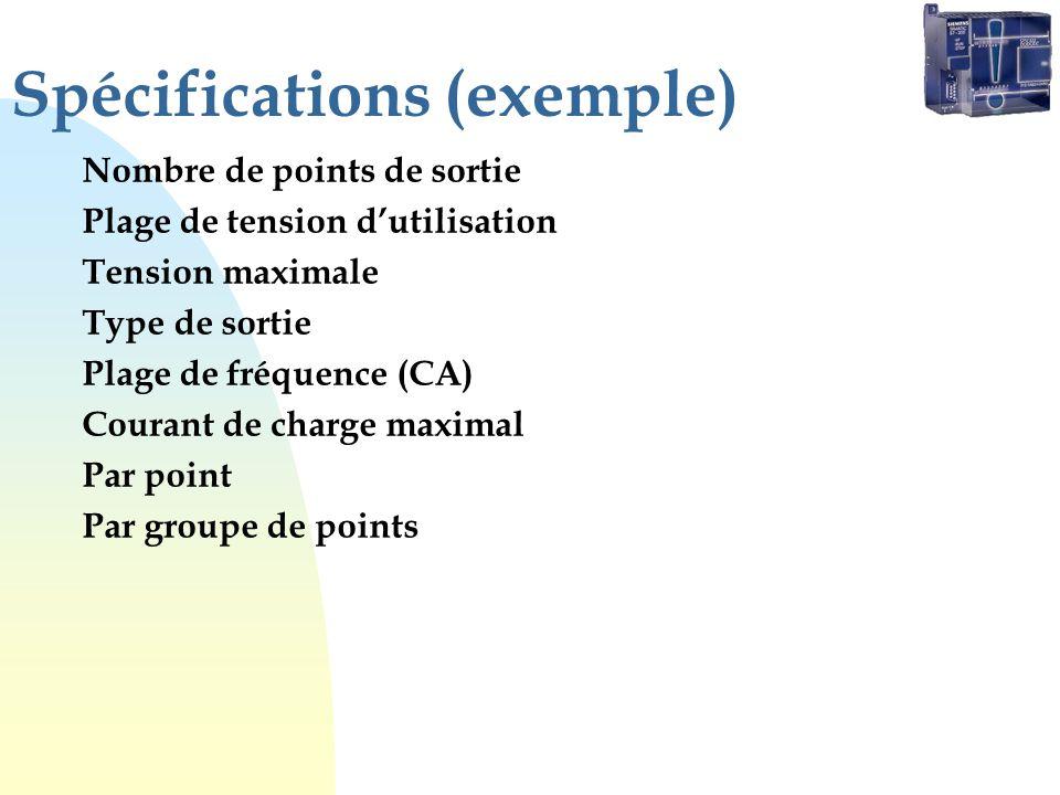 Spécifications (exemple)