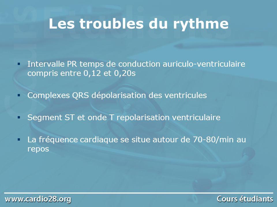 Les troubles du rythme Intervalle PR temps de conduction auriculo-ventriculaire compris entre 0,12 et 0,20s.