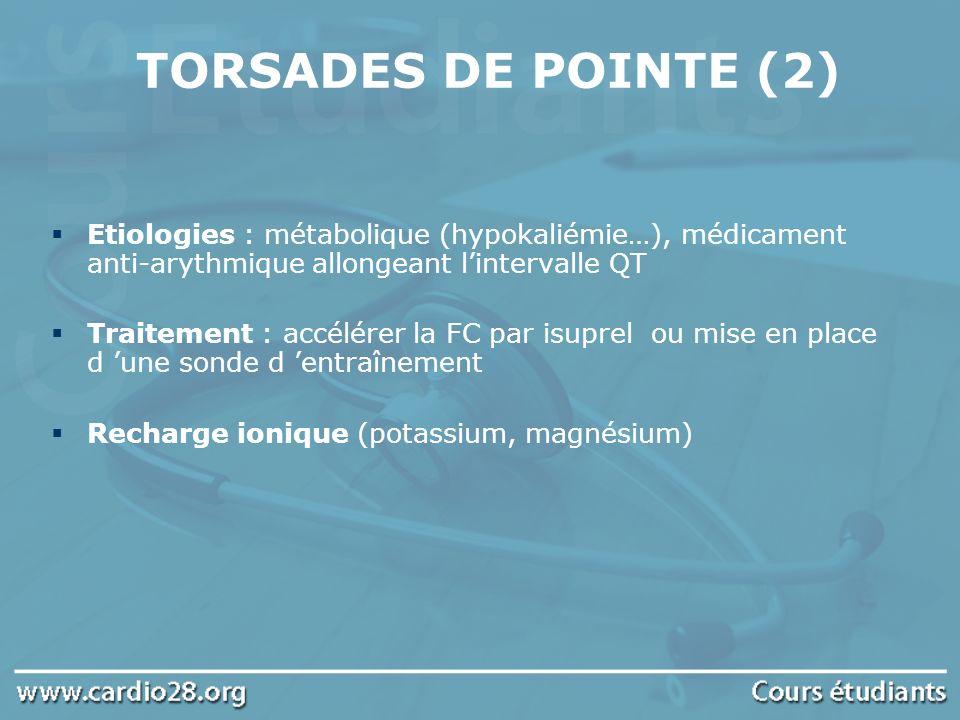 TORSADES DE POINTE (2) Etiologies : métabolique (hypokaliémie…), médicament anti-arythmique allongeant l'intervalle QT.