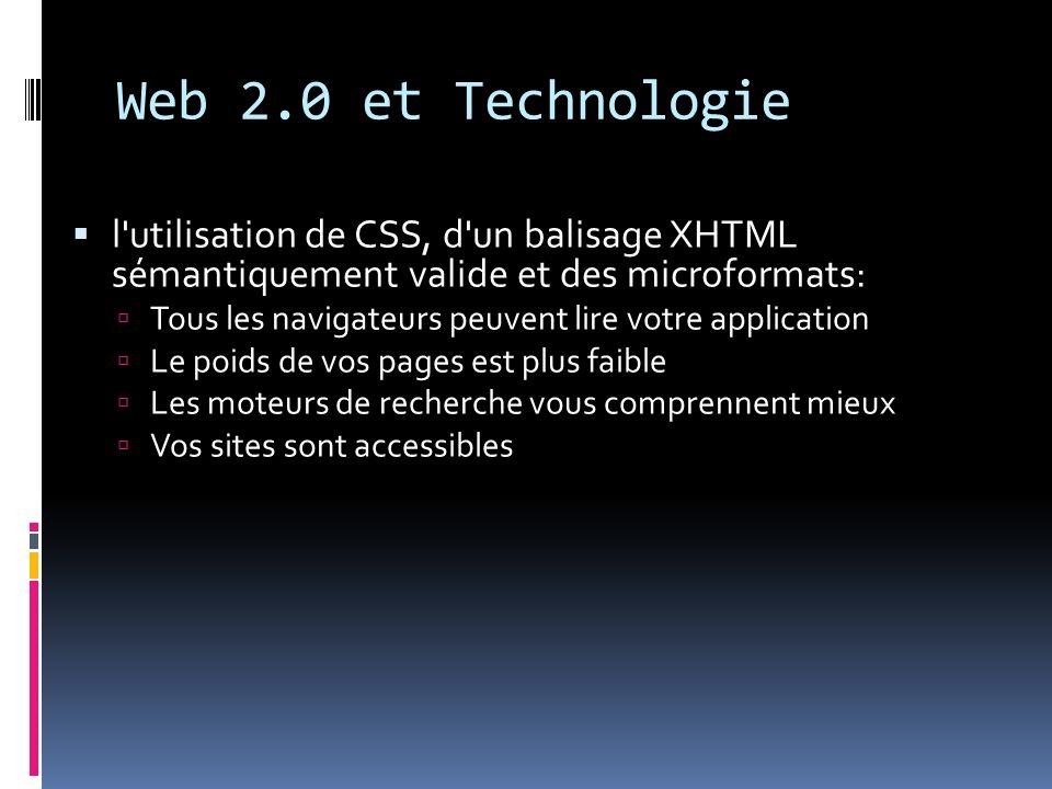 Web 2.0 et Technologiel utilisation de CSS, d un balisage XHTML sémantiquement valide et des microformats: