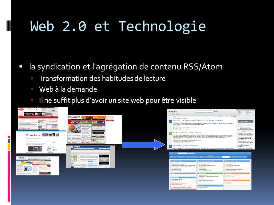 Web 2.0 et Technologie la syndication et l agrégation de contenu RSS/Atom. Transformation des habitudes de lecture.