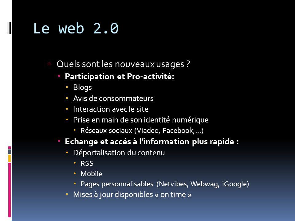 Le web 2.0 Quels sont les nouveaux usages