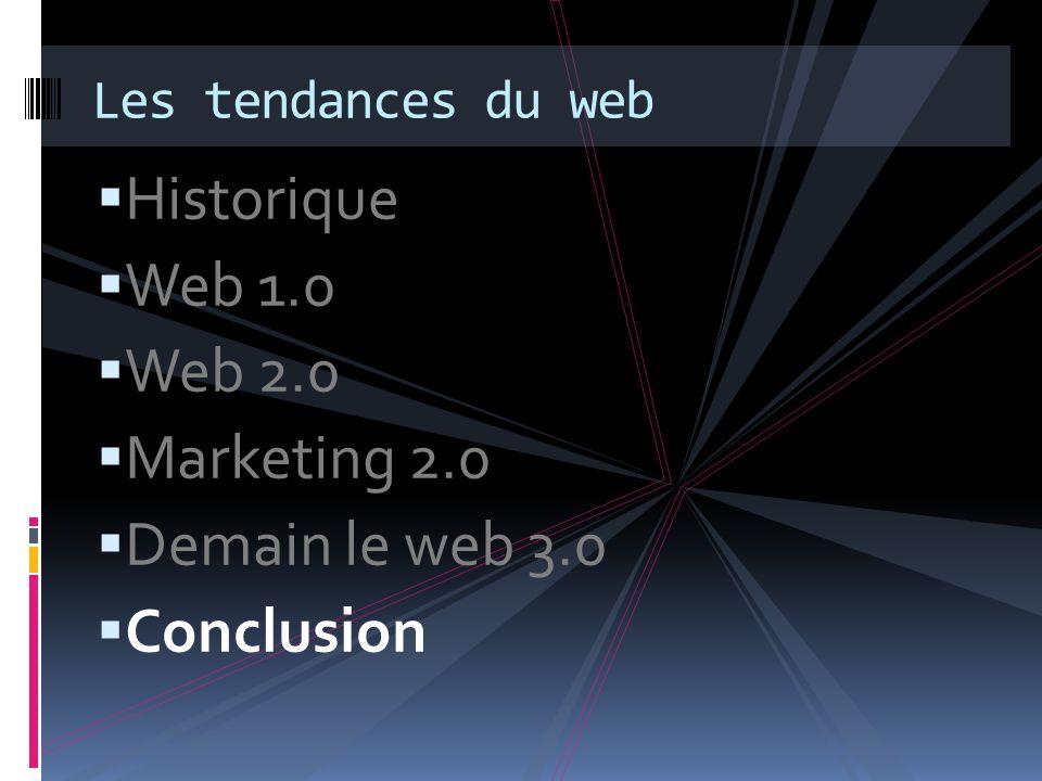 Historique Web 1.0 Web 2.0 Marketing 2.0 Demain le web 3.0 Conclusion