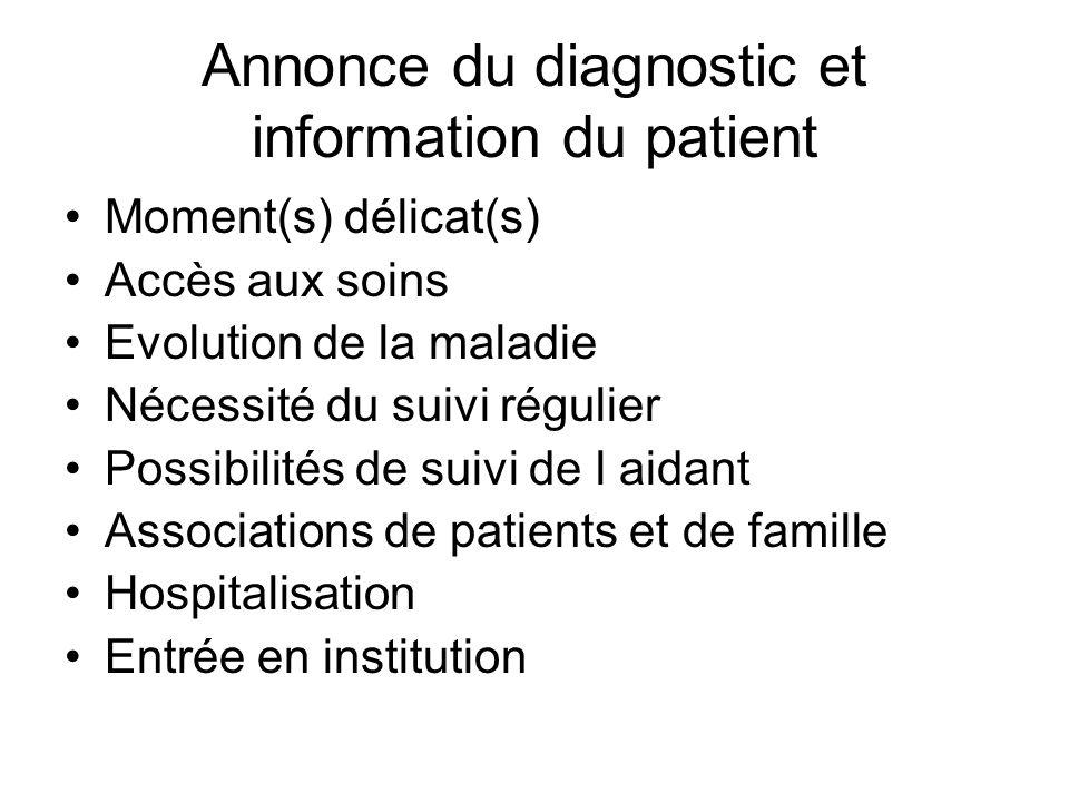 Annonce du diagnostic et information du patient
