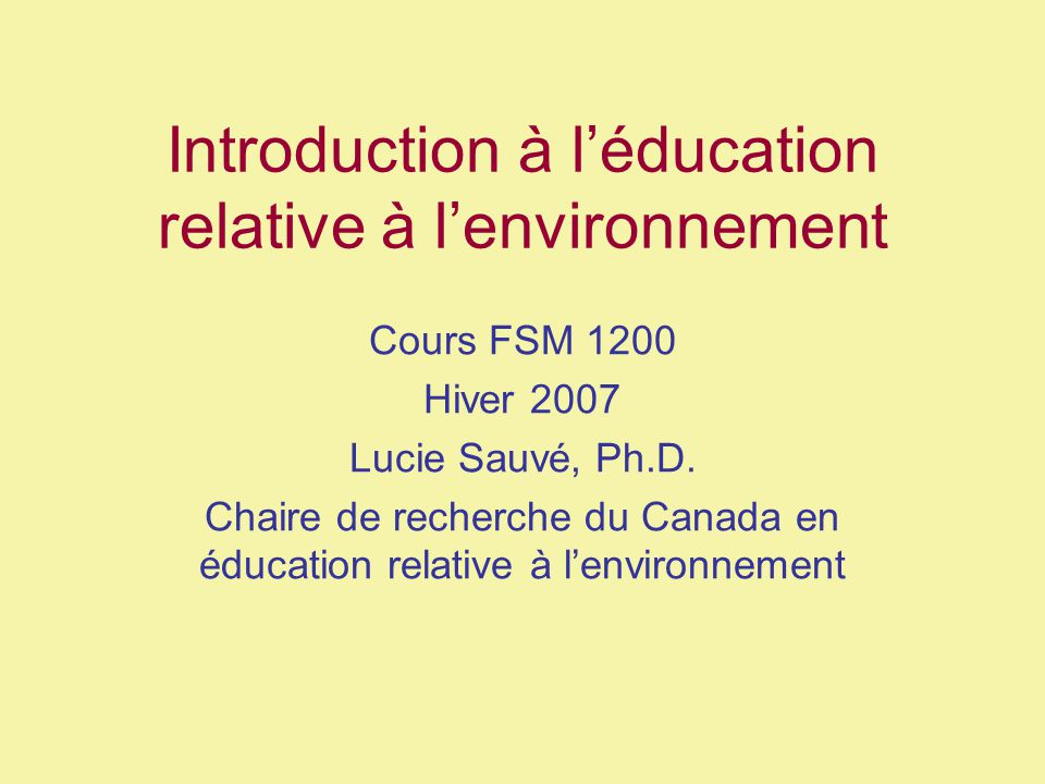 Introduction à l'éducation relative à l'environnement
