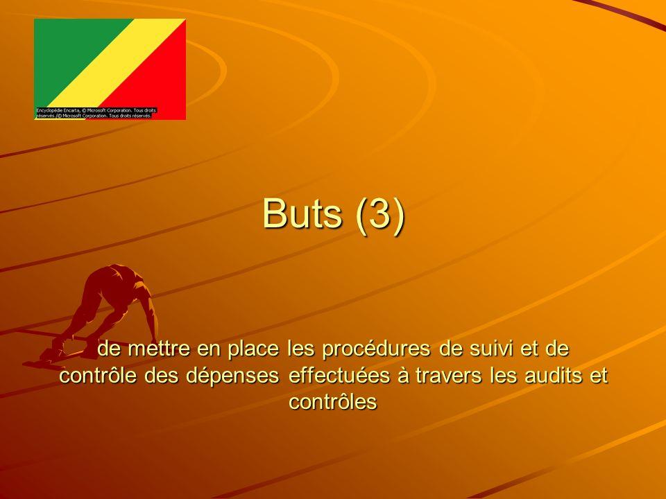 Buts (3) de mettre en place les procédures de suivi et de contrôle des dépenses effectuées à travers les audits et contrôles