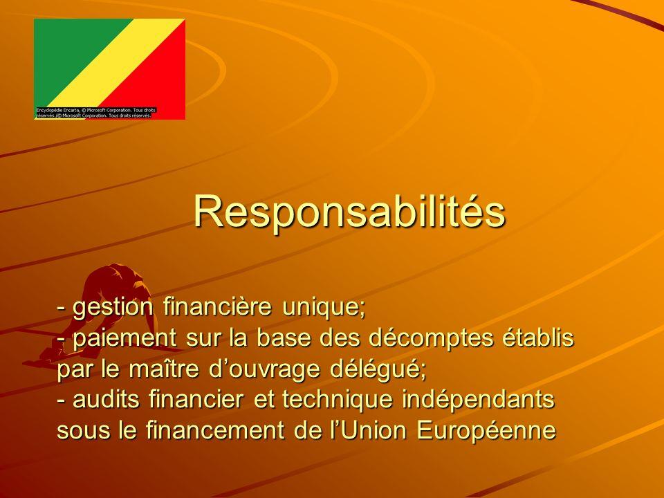 Responsabilités - gestion financière unique; - paiement sur la base des décomptes établis par le maître d'ouvrage délégué; - audits financier et technique indépendants sous le financement de l'Union Européenne