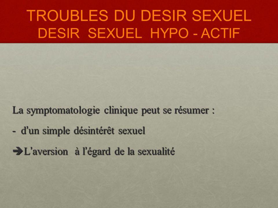 TROUBLES DU DESIR SEXUEL DESIR SEXUEL HYPO - ACTIF