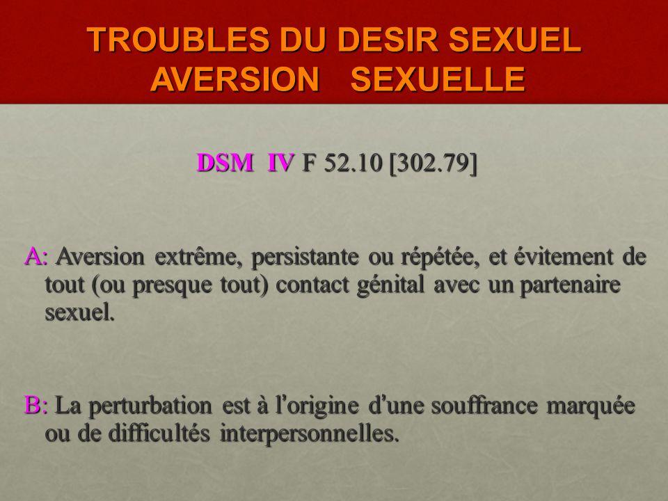 TROUBLES DU DESIR SEXUEL AVERSION SEXUELLE