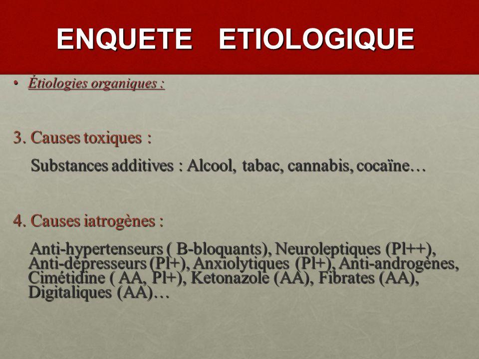 ENQUETE ETIOLOGIQUE 3. Causes toxiques :