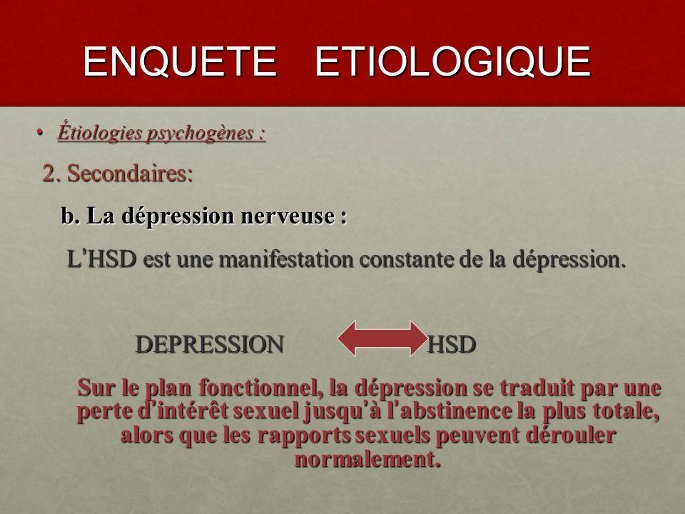 ENQUETE ETIOLOGIQUE 2. Secondaires: b. La dépression nerveuse :