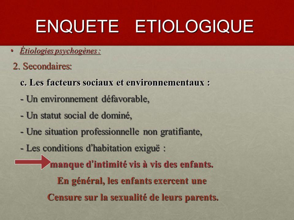 ENQUETE ETIOLOGIQUE 2. Secondaires: