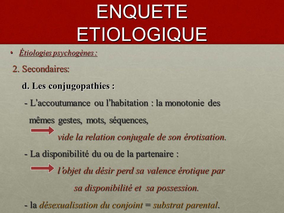 ENQUETE ETIOLOGIQUE 2. Secondaires: d. Les conjugopathies :
