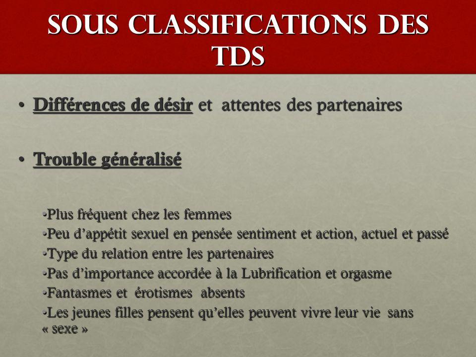 Sous classifications des TDS