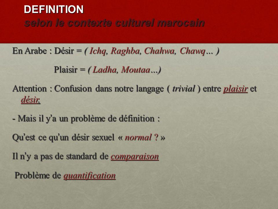 DEFINITION selon le contexte culturel marocain