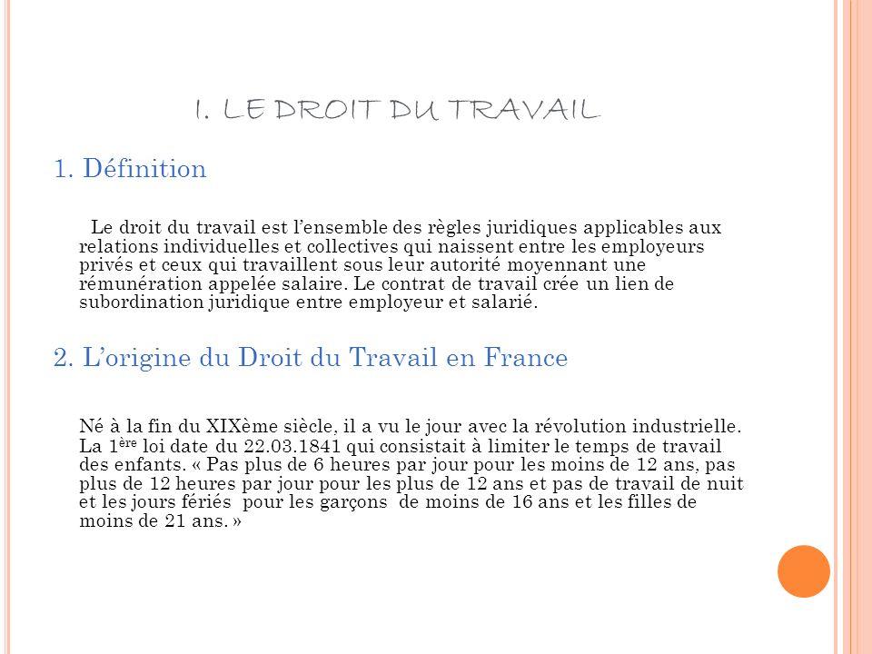 I. LE DROIT DU TRAVAIL 1. Définition