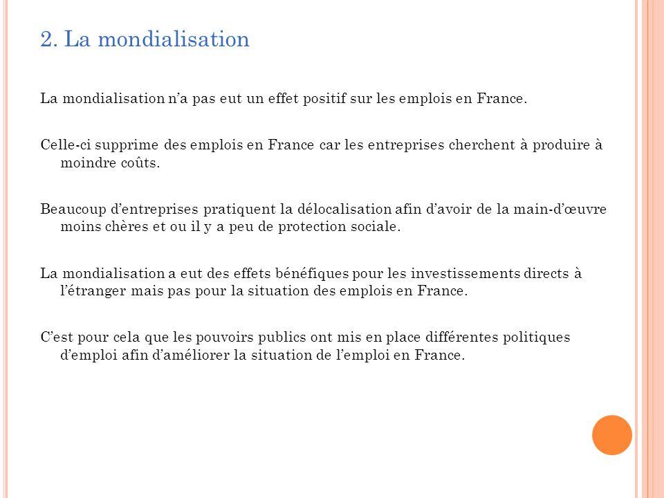 2. La mondialisation La mondialisation n'a pas eut un effet positif sur les emplois en France.
