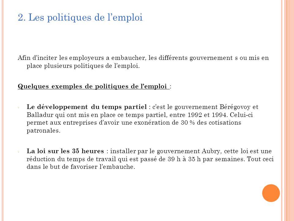 2. Les politiques de l'emploi