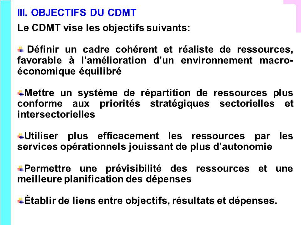 III. OBJECTIFS DU CDMT Le CDMT vise les objectifs suivants: