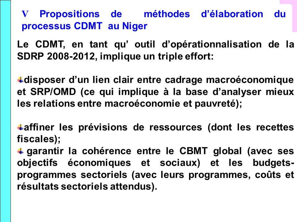 V Propositions de méthodes d'élaboration du processus CDMT au Niger