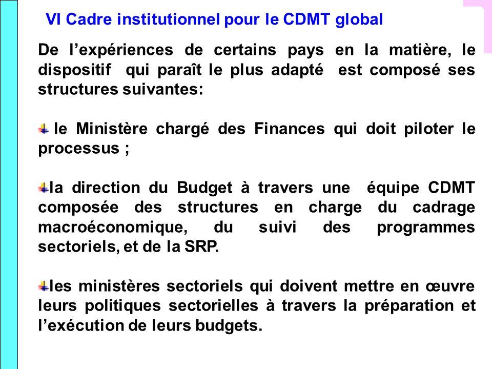 VI Cadre institutionnel pour le CDMT global