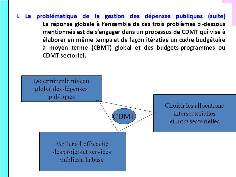 I. La problématique de la gestion des dépenses publiques (suite) La réponse globale à l'ensemble de ces trois problèmes ci-dessous mentionnés est de s'engager dans un processus de CDMT qui vise à élaborer en même temps et de façon itérative un cadre budgétaire à moyen terme (CBMT) global et des budgets-programmes ou CDMT sectoriel.