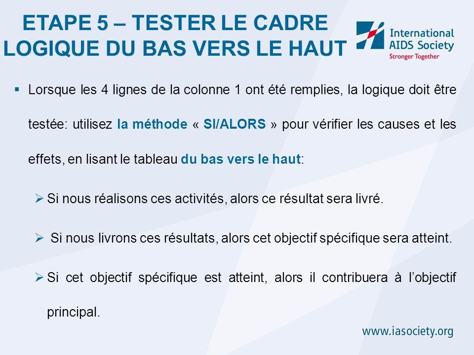 ETAPE 5 – TESTER LE CADRE LOGIQUE DU BAS VERS LE HAUT