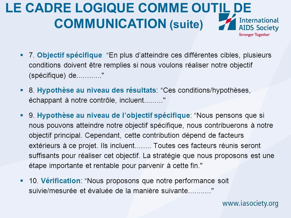 LE CADRE LOGIQUE COMME OUTIL DE COMMUNICATION (suite)