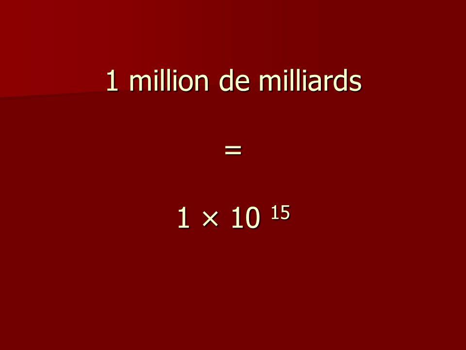 1 million de milliards = 1 × 10 15