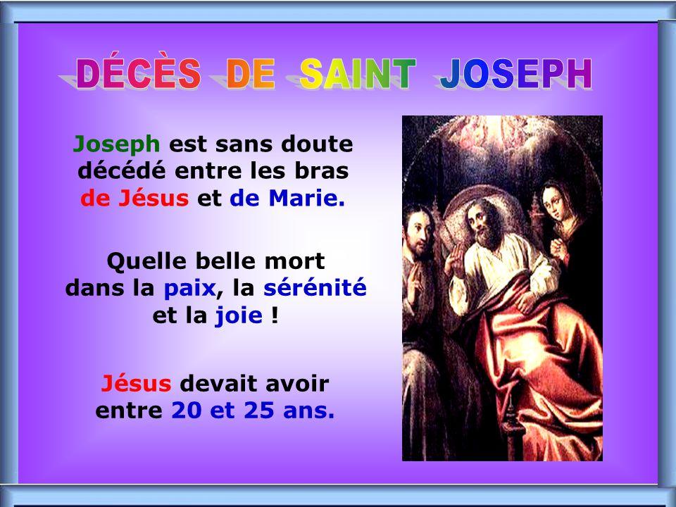 DÉCÈS DE SAINT JOSEPH Joseph est sans doute décédé entre les bras de Jésus et de Marie. .