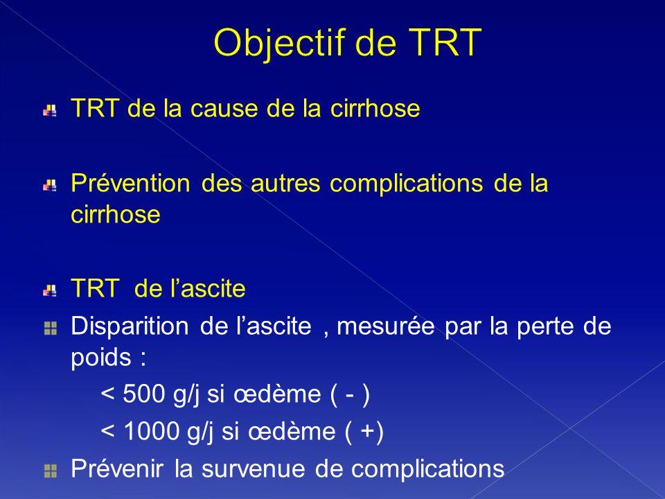 Objectif de TRT TRT de la cause de la cirrhose