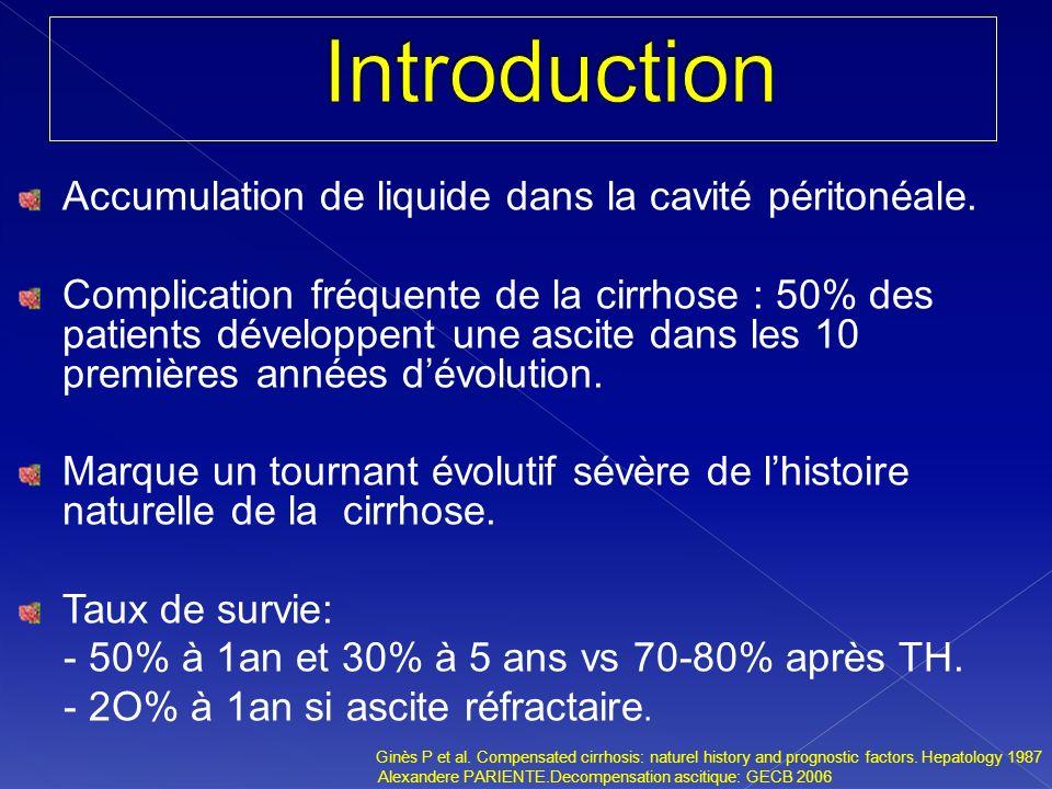 Accumulation de liquide dans la cavité péritonéale.