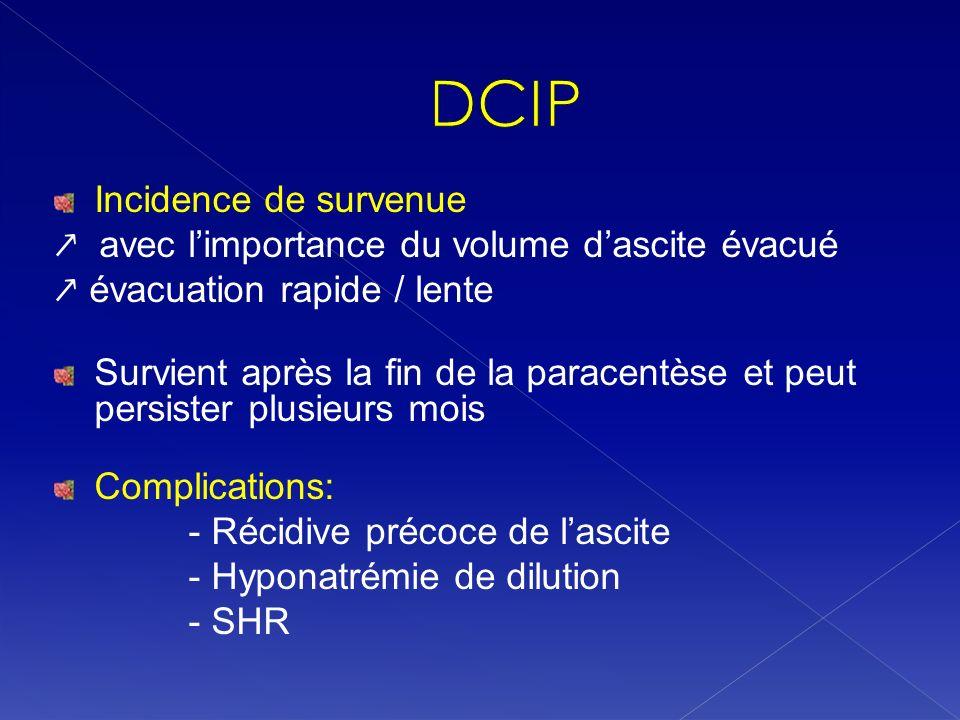DCIP Incidence de survenue