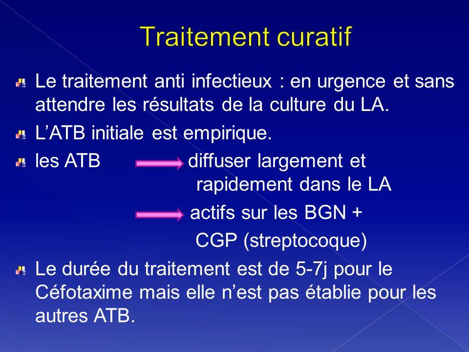 Traitement curatif Le traitement anti infectieux : en urgence et sans attendre les résultats de la culture du LA.