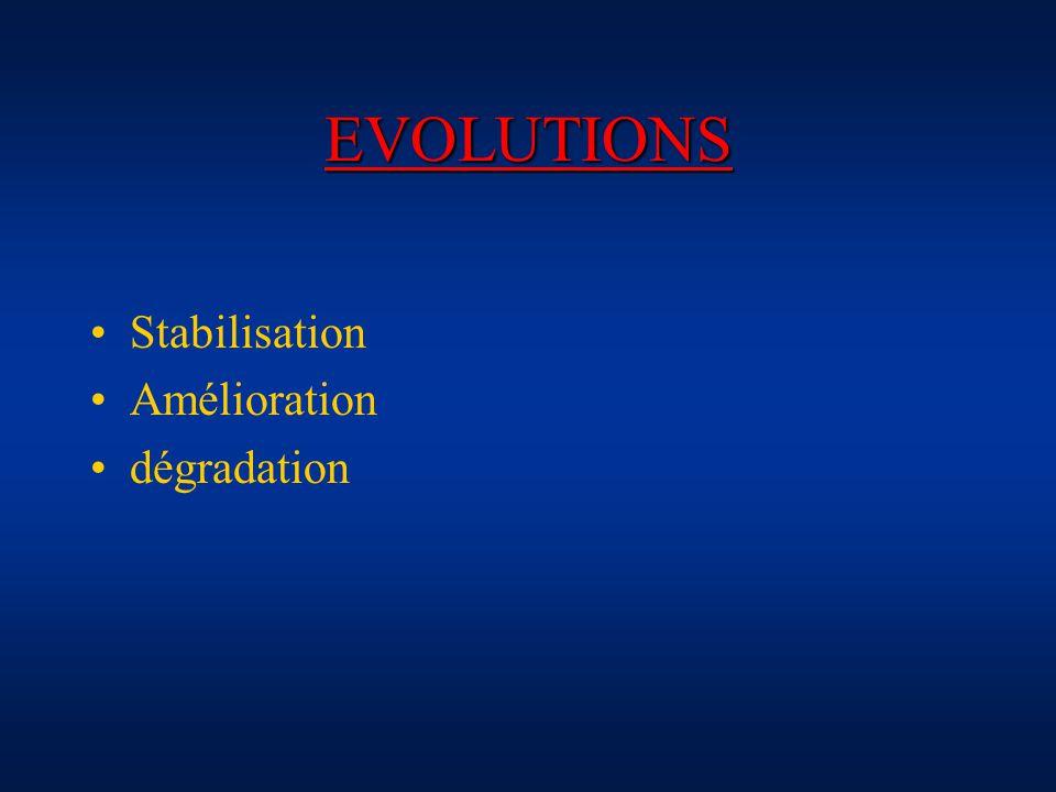 EVOLUTIONS Stabilisation Amélioration dégradation