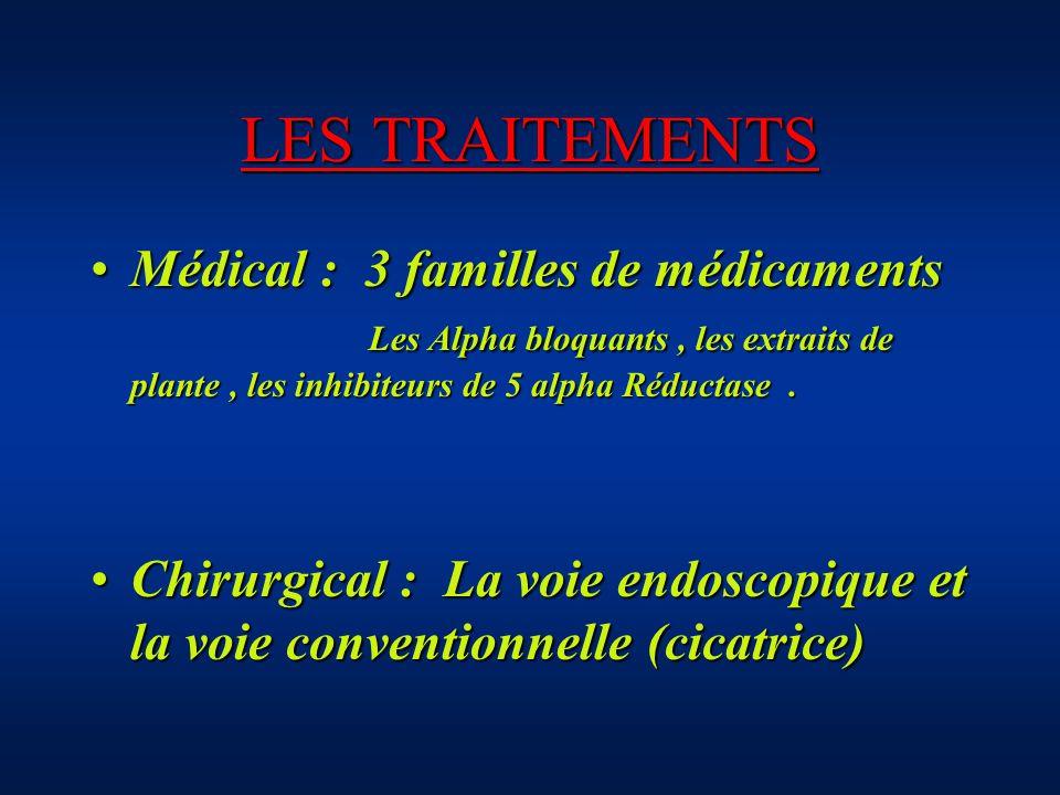 LES TRAITEMENTS Médical : 3 familles de médicaments Les Alpha bloquants , les extraits de plante , les inhibiteurs de 5 alpha Réductase .