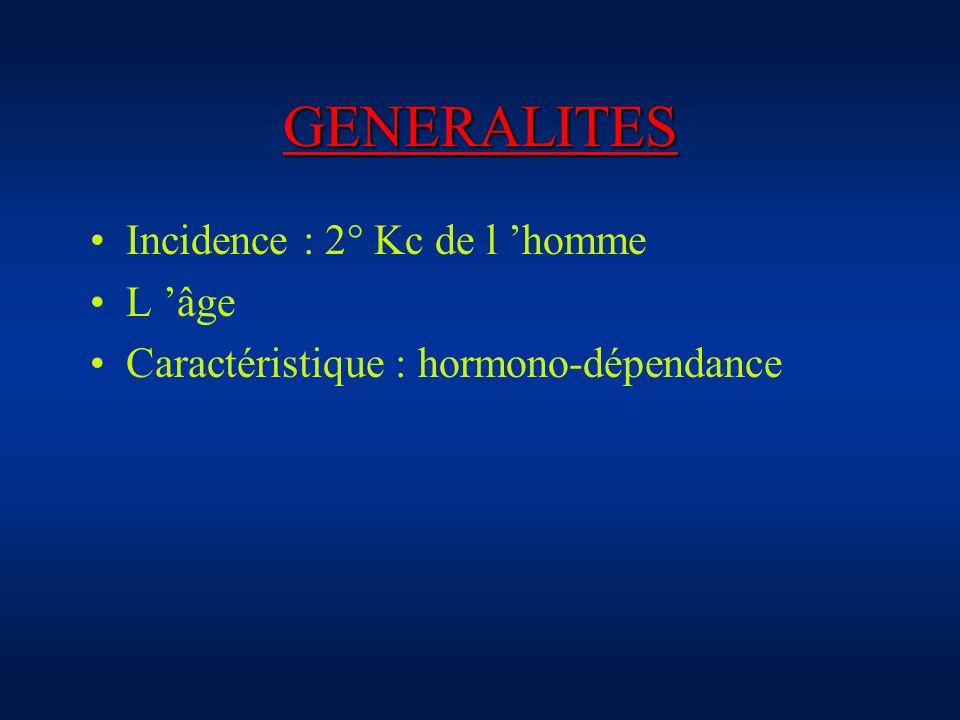 GENERALITES Incidence : 2° Kc de l 'homme L 'âge