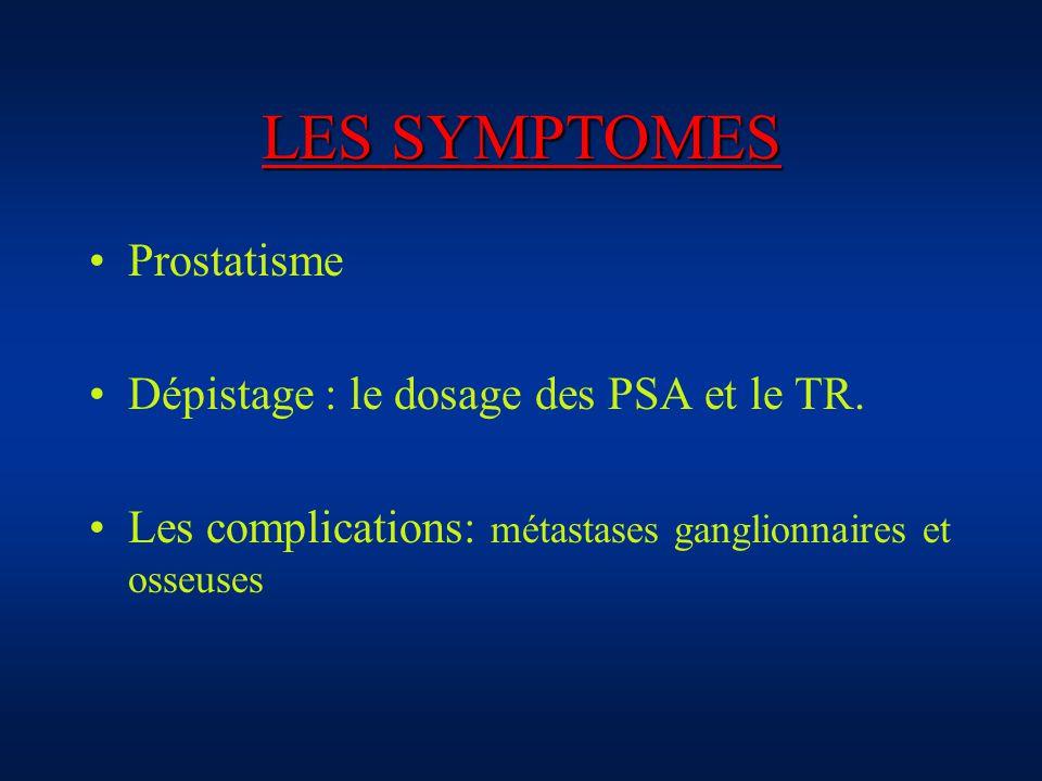 LES SYMPTOMES Prostatisme Dépistage : le dosage des PSA et le TR.