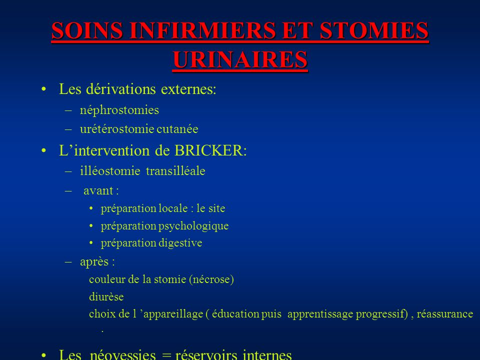 SOINS INFIRMIERS ET STOMIES URINAIRES