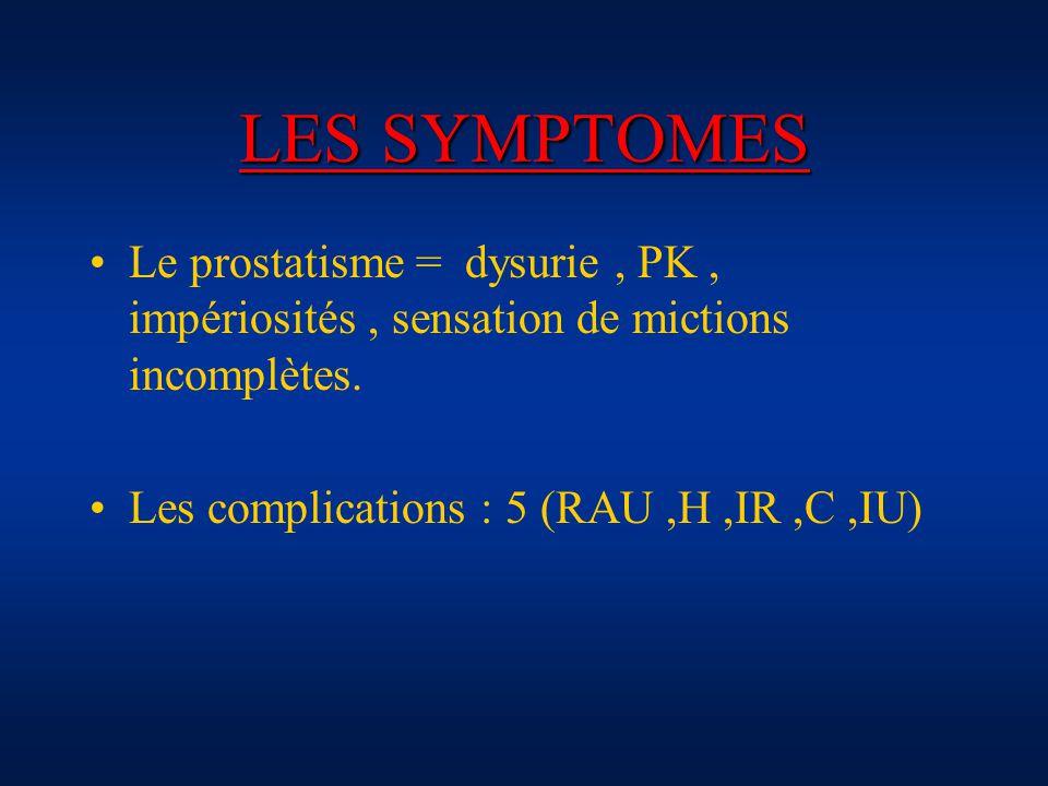 LES SYMPTOMES Le prostatisme = dysurie , PK , impériosités , sensation de mictions incomplètes.