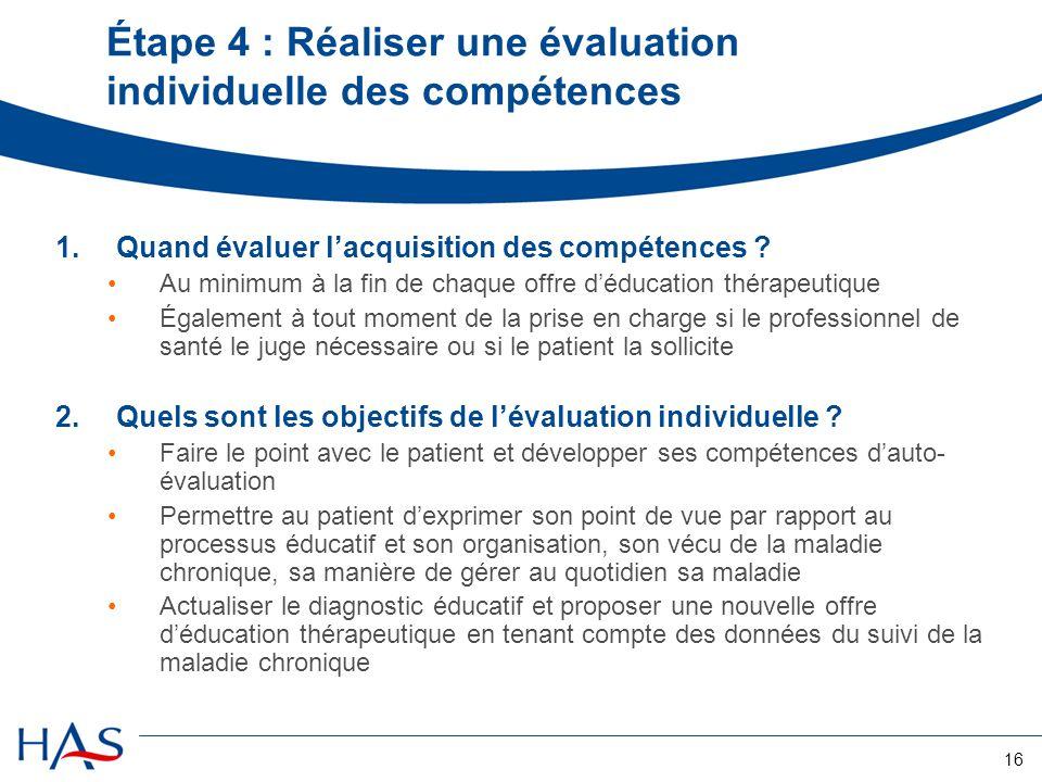 Étape 4 : Réaliser une évaluation individuelle des compétences