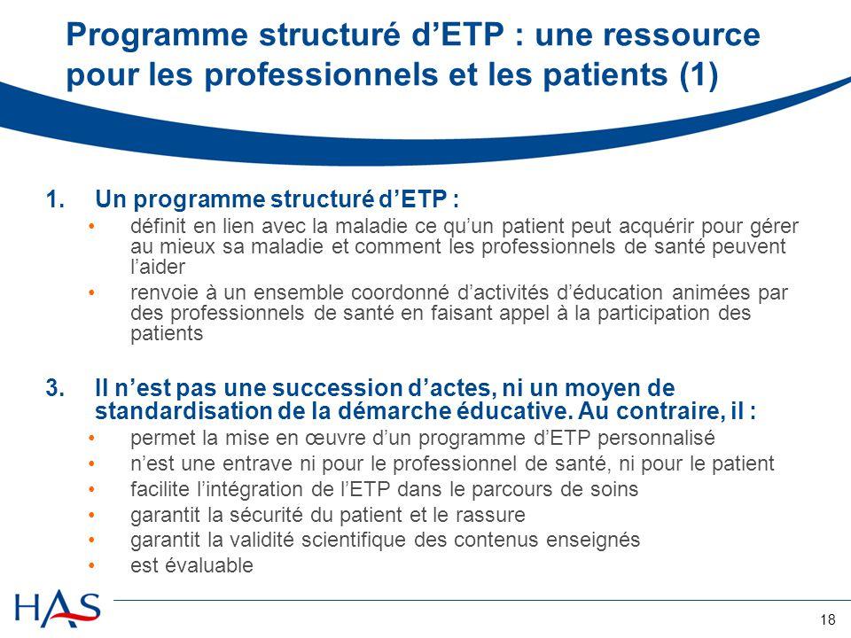 Programme structuré d'ETP : une ressource pour les professionnels et les patients (1)